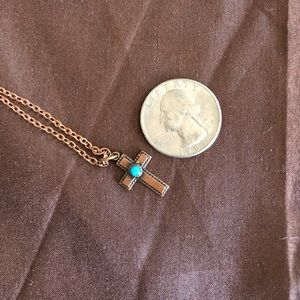 Copper cross necklace with turquoise